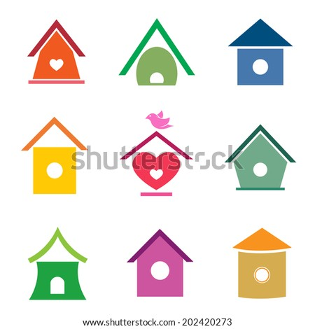 Vector group of bird houses on white background. - stock vector