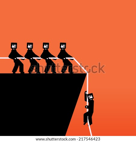 Vector group of people pulling a rope - stock vector