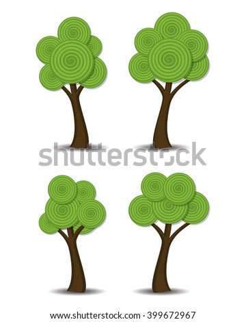 vector group of stylized abstract trees  - stock vector