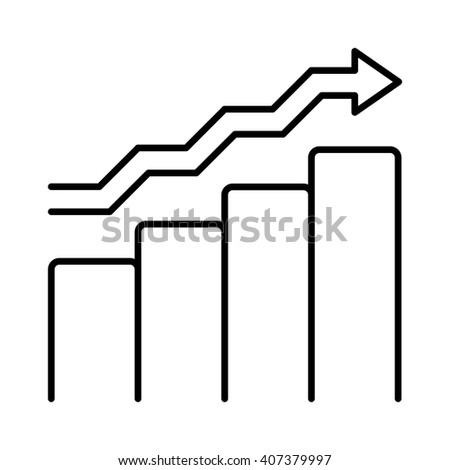 Vector growing chart graph icon business arrow progress diagram. Growth chart business arrow and financial market growth chart. Diagram success profit finance growth chart statistic bar concept. - stock vector