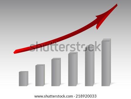 Vector growing graph  - stock vector