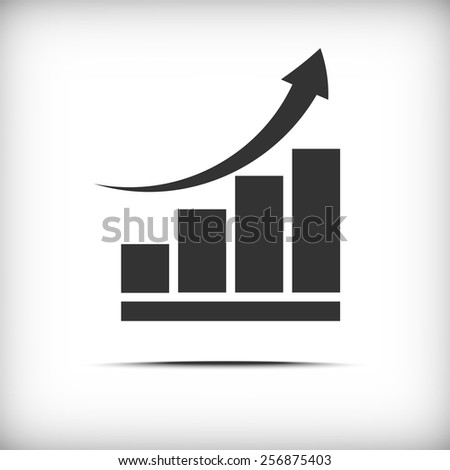 Vector growing graph business icon - stock vector