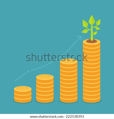 Vector growth concept in flat style - stack of golden coins and green small plant - stock vector