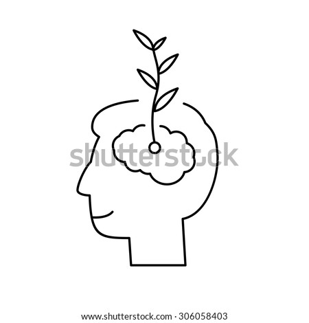 Vector growth mindset skills icon growing plant from the brain | modern flat design soft skills linear illustration and infographic black on white background - stock vector