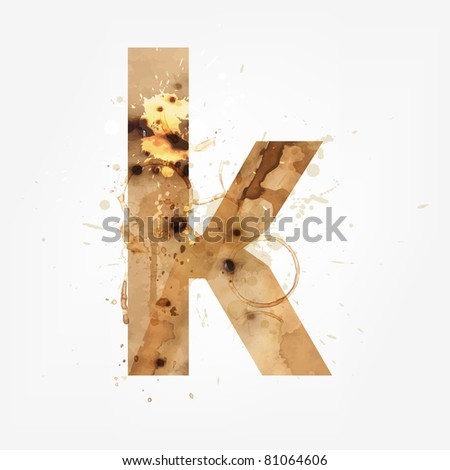 Vector Grunge Alphabet, K - stock vector