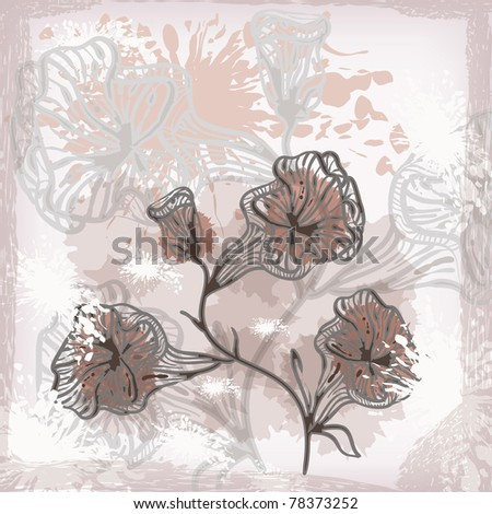 vector grunge background with abstract flowers, gradient, mesh, clipping mask - stock vector