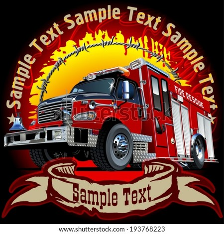 Vector Grunge background with Cartoon Fire Truck. Eps-10 separated by groups and layers for easy edit - stock vector