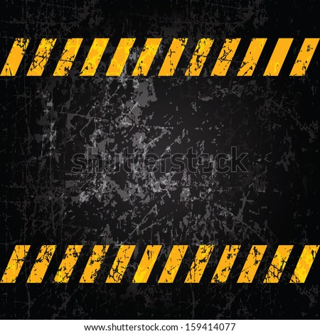 Vector grunge background with caution stripes and copy space - stock vector