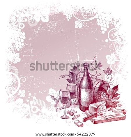 Vector grunge background with vintage wine still life - stock vector