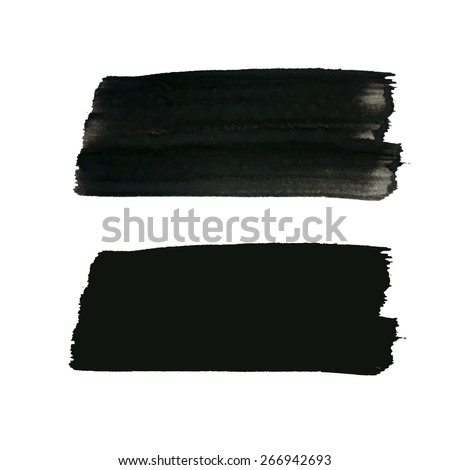 Vector grunge backgrounds, artistic rectangular banners set painted with brush strokes for your text. Can be used as distress texture  template, label, badge or frame, isolated, black on white - stock vector