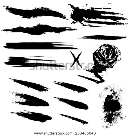 vector grunge band paints silhouettes - stock vector