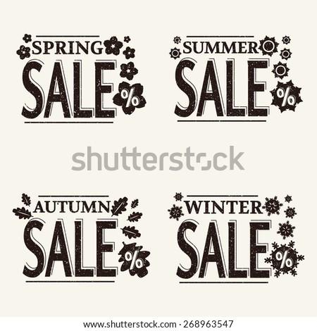vector grunge black season sale labels on white background - stock vector