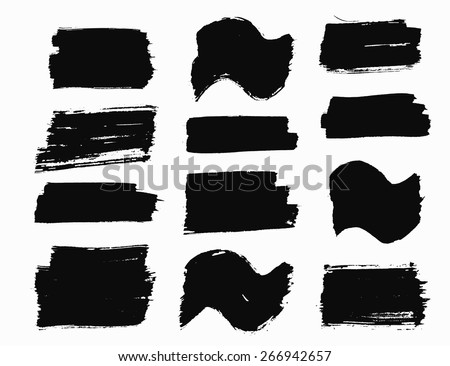 Vector Grunge Brush Strokes Wave and Rectangular Painted Backgrounds Set. Natural artistic banners for text. Can be used as distress texture template, label, flags or badges, isolated, black on white - stock vector
