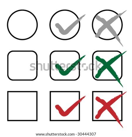 vector grunge check marks - stock vector