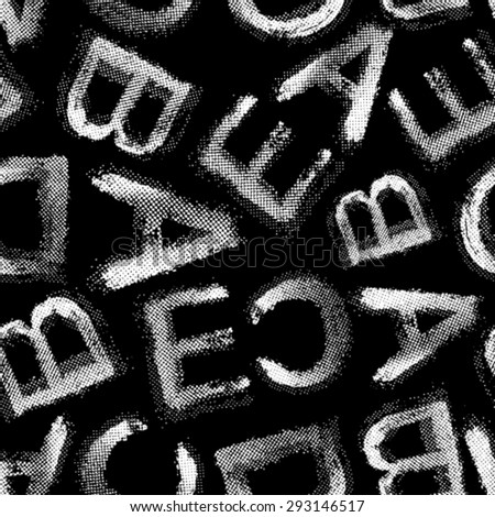 Vector grunge halftone alphabet seamless background. Black and white seamless background. - stock vector