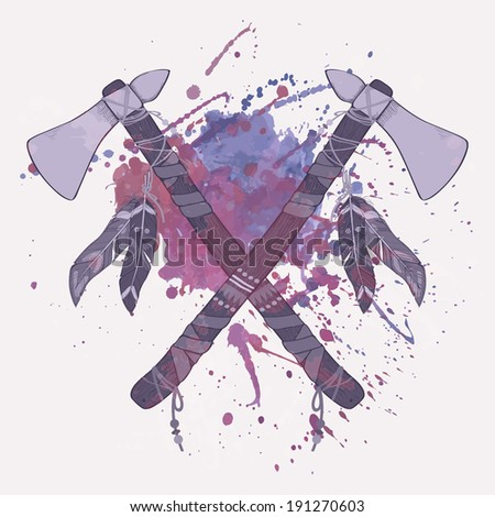 Vector grunge illustration of native American Indian tomahawks with watercolor splash - stock vector