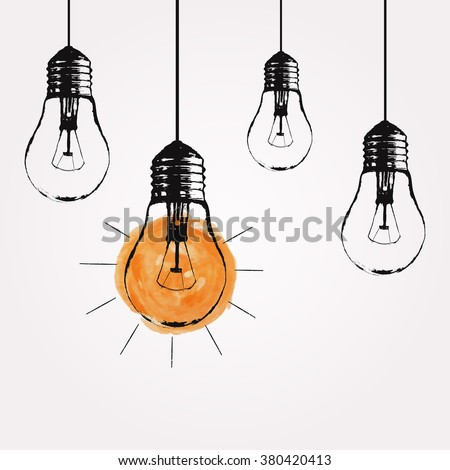 Vector grunge illustration with hanging light bulbs and place for text. Modern hipster sketch style. Unique idea and creative thinking concept. - stock vector