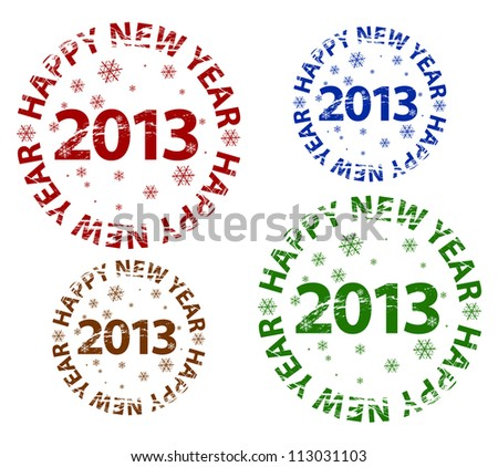 Vector grunge scratched Happy New Year 2013 rubber stamp - stock vector
