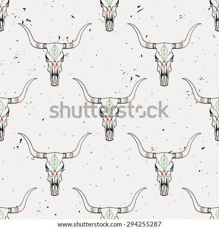 Vector grunge seamless pattern with bull skull and ethnic ornament - stock vector
