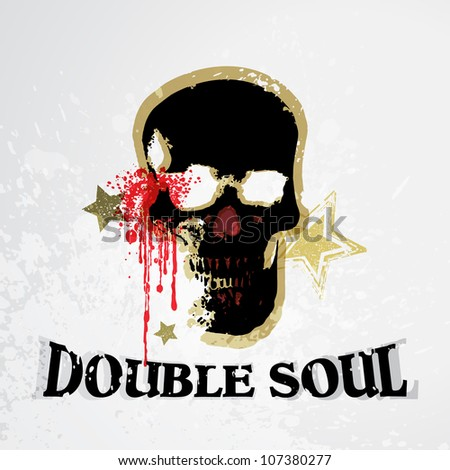 Vector Grunge Skull Background / Double Soul - stock vector