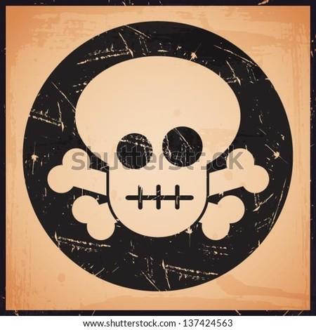 vector grunge skull icon - stock vector