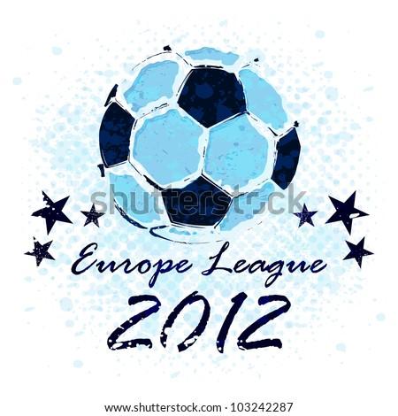 Vector Grunge Soccer Ball / Europe League - stock vector
