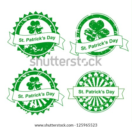 Vector grunge st. Patrick's day stamps - stock vector