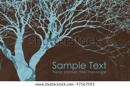 Vector grunge style business card with tree - stock vector