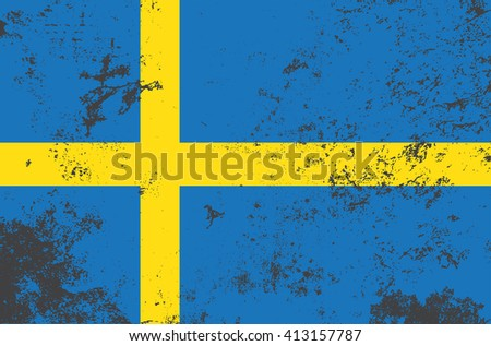 Vector grunge style Sweden state flag. Shabby design of national swedish flag. Symbol of Sweden in stains. Black mourning day for the country. Flat design vector illustration editable template - stock vector