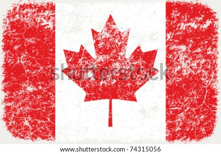 vector grunge styled flag of Canada - stock vector
