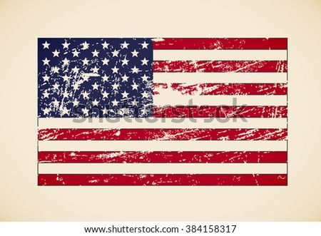 vector grunge styled flag of usa - stock vector