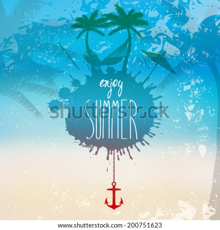 Vector grunge summer beach illustration with hammock and palm trees - stock vector