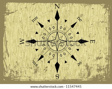 vector grunge vector compass abstract background - stock vector