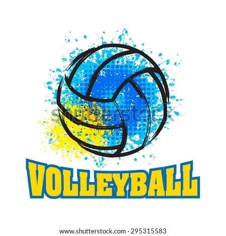 Vector Grunge Volleyball ( T-shirt, Poster, Banner, backdrops design )  - stock vector