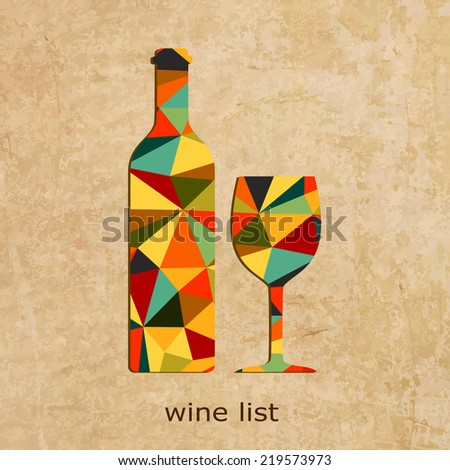 Vector grunge Wine list design. Wine shop logo.  - stock vector