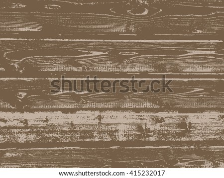 Vector grunge wooden texture in brown color. - stock vector