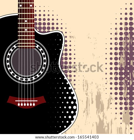 Vector grungy background with black acoustic guitar - stock vector