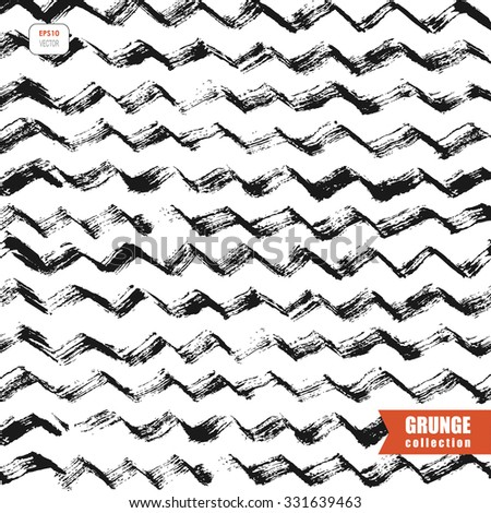 vector grungy background with zigzag lines - stock vector