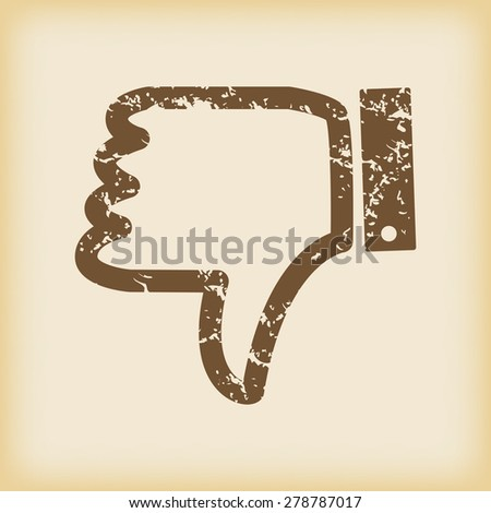 Vector grungy brown icon with dislike symbol, on beige background - stock vector
