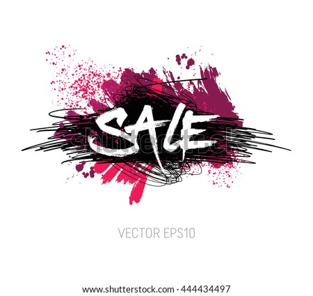 Vector grungy scribble banner - Big sale - with paint brush strokes and splatter, spray paint, drops - stock vector