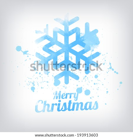Vector grungy textured hand painted watercolor blue snowflake icon with paint stains and blots. Christmas greeting card - stock vector