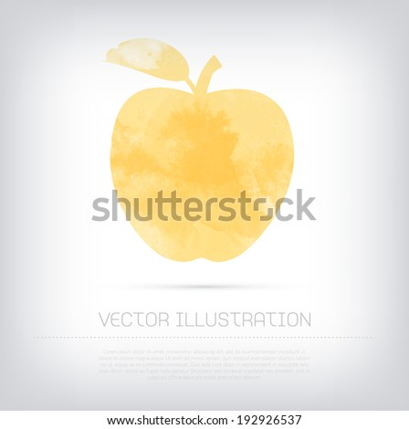Vector grungy textured watercolor yellow apple icon - stock vector