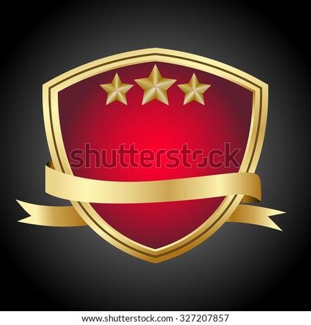 Vector guaranteed shield Red color gold border icon. - stock vector