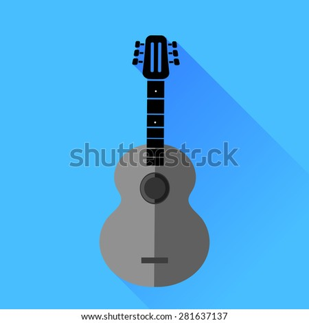 Vector Guitar Silhouette Isolat6ed on Blue Background. Long Shadow. - stock vector