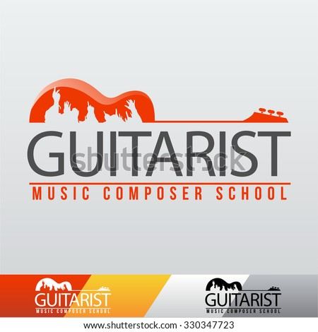 Vector Guitarist Music School Logo - stock vector