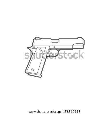 Vector Gun Icon Symbol - stock vector