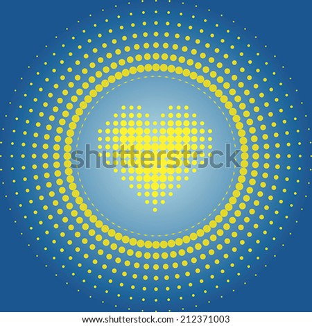 Vector halftone dots in a circle with a heart in the center. Yellow and blue. - stock vector