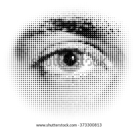 Vector halftone human eye - stock vector