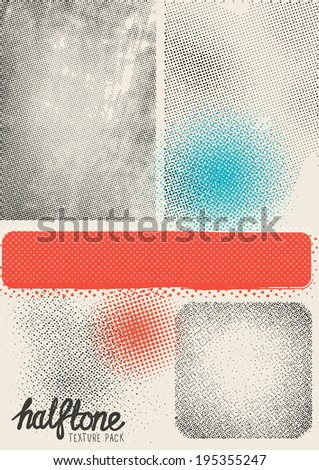 Vector Halftone Texture Pack. Various halftone patterns and textures to add depth to designs. Layered vector illustration. - stock vector