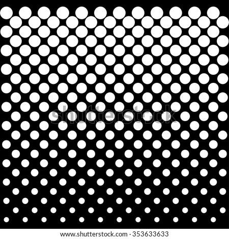 Vector halftone white dots black background illustration          - stock vector